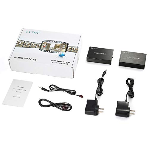 (Florenceenid LESHP 60m/200ft HDMI Extender Transmitter and Receiver Set Bi-Directional IR 3D HDMI Loop Out with Dual IR Control)