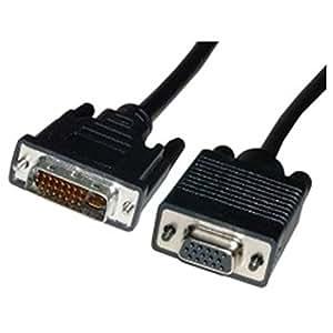 Cablematic - Cable DVI-I macho a VGA hembra de 5 m