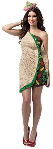 Taco Dress Womens Costumes (UHC Women's Taco Foodie Outfit Funny Theme Party Fancy Dress Halloween Costume, OS (Up to 12))