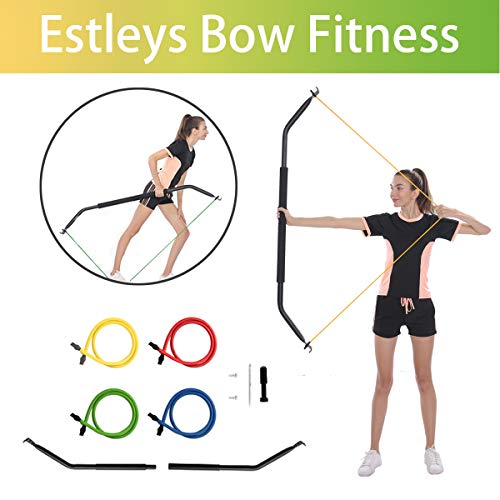 Estleys Bow Portable Home Gym Resistance Bands, Fitness Equipment System with Bow, Resistance Band Set, Weightlifting Training Kit, Full Body Workout Equipment, 15 Adjustable Levels of Resistance