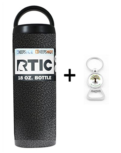 RTIC Custom Powder Coated Stainless Steel Insulated Can Colster Cup Mug Tumbler Beer Soda Water Bottle - Keeps drinks COLD or hot - great for travel (18oz, Textured Silver Vein)
