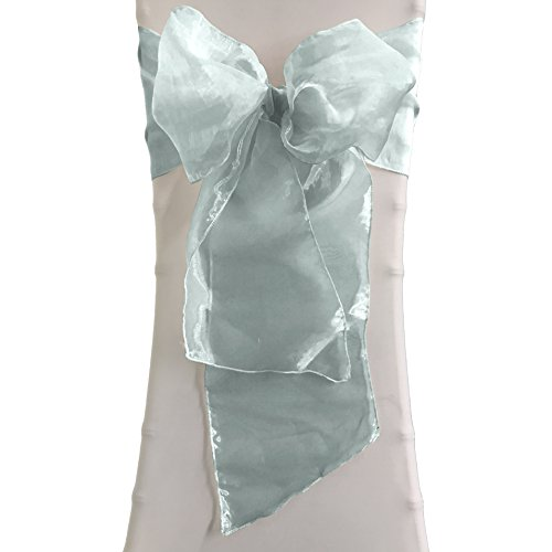 LA Linen Organza Sashes Chair Bows (Pack of 50), Baby Blue