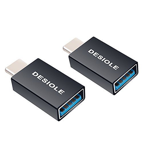 DESIOLE USB C to USB 3.0 Adapter, Type-c Auminum OTG Adapter for MacBook Pro, Samsung Galaxy S8 Plus, LG G5 G6 V20, Google Pixel, Huawei P9 and More (2-Pack, Black)