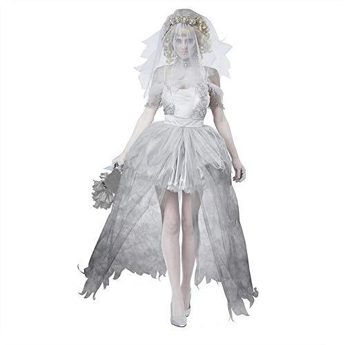 Dead Bride Costume Women, Halloween Costumes for Ladies, Womens Fancy Dress Costumes Ghost Dress Women Horror Zombie Vampire Set,Includes Veil, Ghost Bridal Skirt, Collar, ()