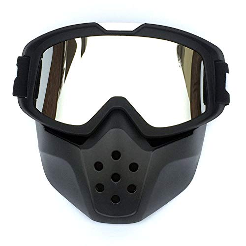 ZZKJTANGYMTT Motorcycle Glasses, Face Shields, Windproof Glasses, Professional Racing Goggles, Cool Knight Equipment, Anti-Uv, Ski Goggles, Field Travel, Electric Car Goggles,Silver