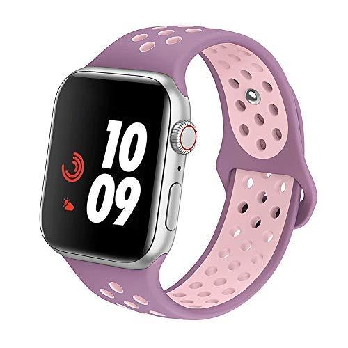 Wearable Plum - IWATUTY Compatible with Apple Watch Band 44mm 42mm 40mm 38mm,Soft Silicone iWatch Sport Bands Replacement Wristband for Series 4 3 2 1, Nike+, Sport, Edition, S/M M/L, for Woman and Man