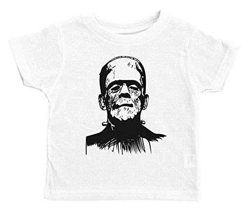Halloween Shirt for Kids / FRANKENSTEIN / Unisex Toddler Tee / Baffle (2T, WHITE) ()