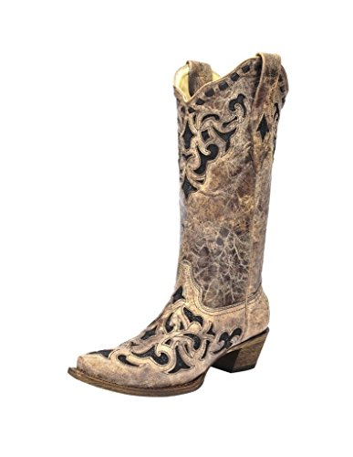(CORRAL Women's Stingray Inlay Cowgirl Boot Snip Toe - A3188 (7.5 M US) Brown)