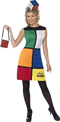[Rubik's Cube Costume, Multi-coloured, With Dress, Headband & Bag] (Costume Cube Rubik)