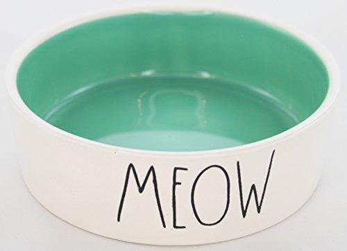 Rae Dunn Magenta Ceramic Small Dog / Cat Pet Bowl Meow 4.75 Inch - Sea Foam Green (Meow Cat Bowl)