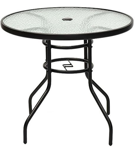 """K&A Company Outdoor Dining Patio Round Table Glass Steel Vintage Chippendale Furniture Regency Great Condition 31.5"""" Tempered Glass Steel Frame"""