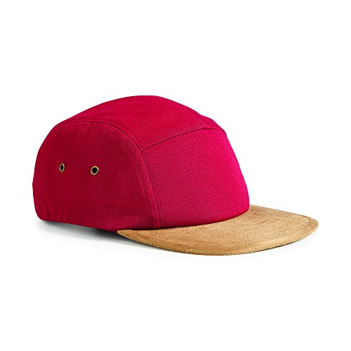 Beechfield Suede peak 5 panel cap Chillii Red (Beechfield Suede Peak 5 Panel Baseball Cap)