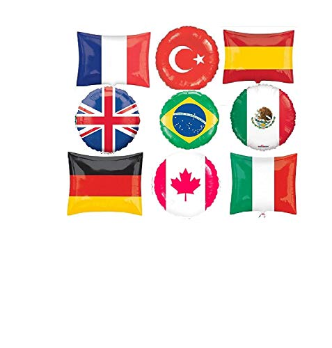 - Fun WTH Flags ! 9 Balloons Party New World Day School Event Decor Flag Balloons UK France Canada Italy Brazil Germany Turkey Spain Mexico International United Nations