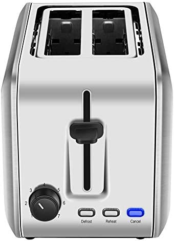 2 Slice Toaster, CUSIBOX Extra Wide Slots Stainless Steel Toaster with 7 Bread Browning Settings, REHEAT DEFROST CANCEL Function, 750W