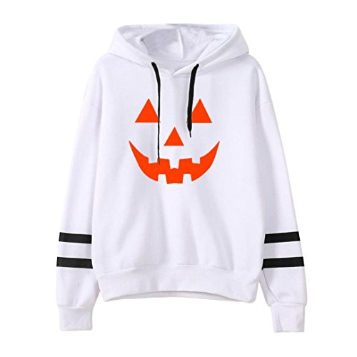 Simple Halloween Costumes For Teen Girls (XUANOU Womens Long Sleeve Simple Style Hoodie Sweatshirt Jumper Hooded Pullover (Small, White # Halloween))