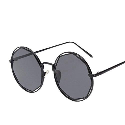 soleil de soleil soleil monture à de Cadre Lunettes ronde Noir de Shop Gris élégantes soleil métalliques rondes de Lunettes lunettes et 6 lunettes qwz7va