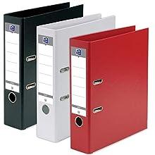 Oxford 400138726 – Juego de 3 archivadores de palanca, formato A4 + lomo de 80 mm, 2 anillas, capacidad para 750 hojas, cubierta de polipropileno, color aleatorio