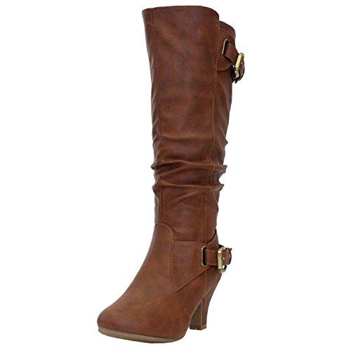 (TOP Moda Womens Bag-55 Knee High Buckle Slouched Kitten Heel Boots, Tan 7.5)