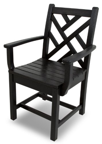 POLYWOOD CDD200BL Chippendale Dining Arm Chair, Black