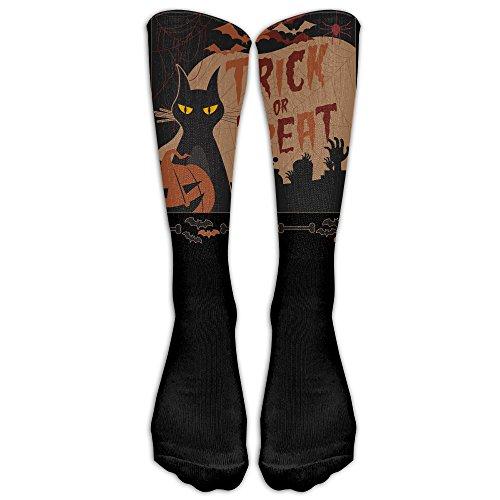 Halloween Night Trick Or Treat Vampire Cat Custom Knee High Socks Football Baseball Long Stockings For Men Women (Halloween 1 1978 Mask)