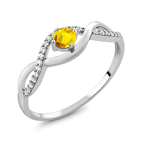 067-Ct-Round-Yellow-Sapphire-925-Sterling-Silver-Infinity-Ring