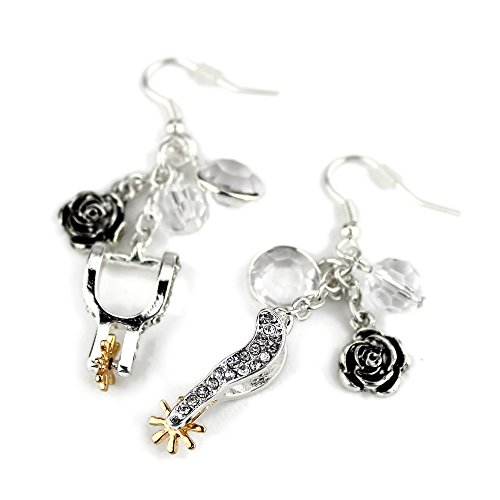 Barrel Racer Spurs (Wyo-Horse Jewelry Collection Western Silver Spur Cowgirl Charm Cluster Earrings)