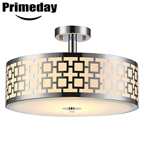 Diameter Ceiling Light - SOTTAE Luxurious Chrome Finish 2 Lights Glass Diffuser Living Room Bedroom Ceiling Light,Modern Ceiling Lamp Fixture(Diameter:15.74