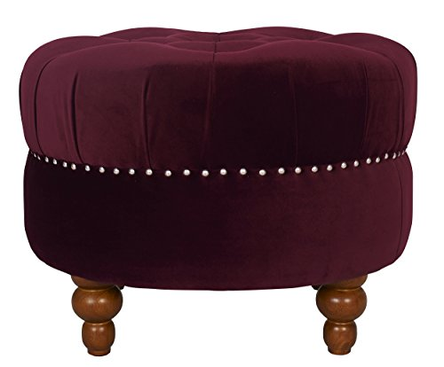 Jennifer Taylor Home La Rosa Collection Tawny Port Nailhead Trim, Hand Tufted Round Ottoman With Wooden Legs, Burgundy For Sale