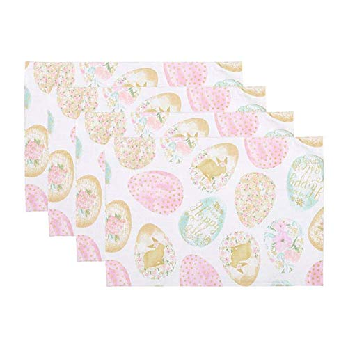Northeast Home Goods Happy Easter Colored Eggs Delight Fabric Placemats, Set of 4