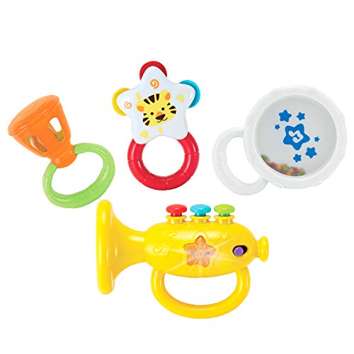 KiddoLab Musical Instruments Set with an Electronic Trumpet and Rattles for Babies. Toddler Learning Toys for Early Development. First Infant Music Toy for 3 to 18 Months Old