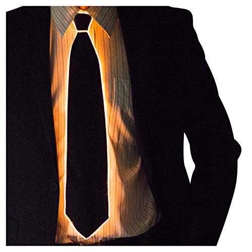 Halloween Necktie - Neon Nightlife Light Up Neck Tie for Men, Orange