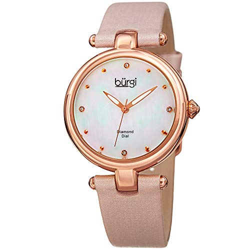 Burgi Designer Women's Watch with Diamond Accented Markers on Mother of Pearl Dial - Pink Skinny Genuine Leather Bracelet Strap - Classic Round Analog Quartz - BUR169PK