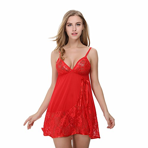 HOOYON Women's Sexy Lace Babydoll Dress Transparent Chemise Sleepwear Red L