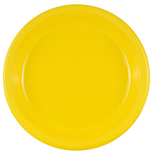 Yellow Round Dinner Plate - JAM Paper Round Plastic Party Plates - Large - 10.25