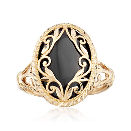 (Ross-Simons Black Onyx Scroll Ring in 14kt Yellow Gold)