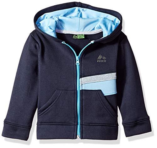 RBX Boys' Toddler Zip Front Fleece Hoodie, Navy Contrast, 3T