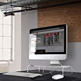 Circuit City Essentials Acrylic Monitor Stand Riser Space Saving Computer Desk Shelf Organizer for Laptops, iMac, Printers, Keyboards & Screens Up to 30-Inch and 50 lbs Clear