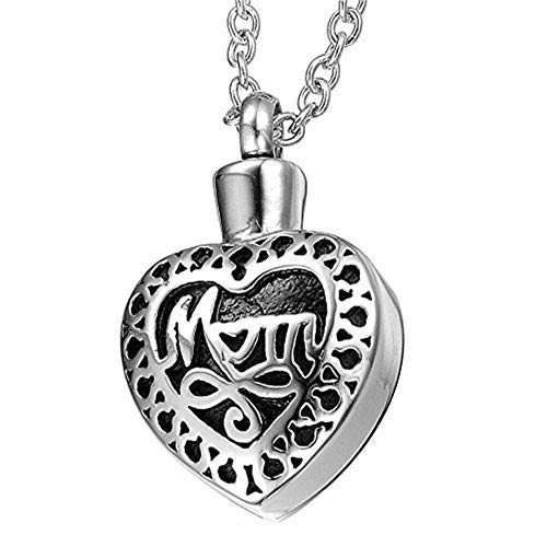 Katie Collection Mom Heart Cremation Jewelry Urn Necklace for Ashes Men and Women Memorial Keepsake with Adjustable Length Chain and Fill kit