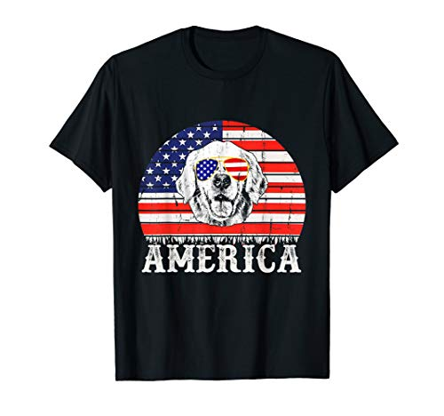Vintage USA Flag Golden Retriever Dog America 4th Of July  T-Shirt