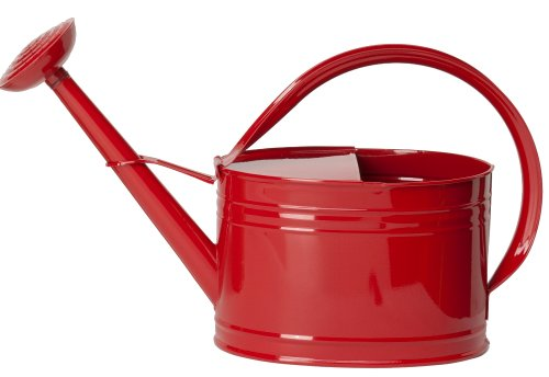 HIT 8584EXR Galvanized Heavy Gauge Steel Watering Can, 2-Gallon, Red