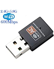Wifi Dongle, USB Wifi Adapter 600Mbps 2.4/5GHz Mini Wireless Network Adapter Supports Windows 10/8 / 7/ Vista/XP/ 2000/ Mac Os X 10.4-10.14(Updated)