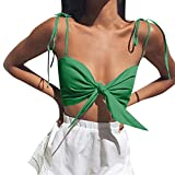 TWinmar -Women Crop Top Solid Off Shoulder Strapless Vest Sexy Bow Knot Tank Blouse Tee Shirt Green