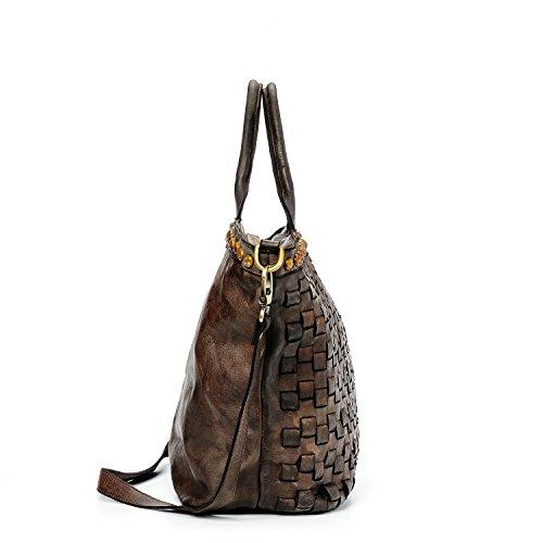 Ira del Valle, Bolso para mujer, Piel genuina, Vintage, Modelo Las Vegas, Made in Italy Marrón Oscuro