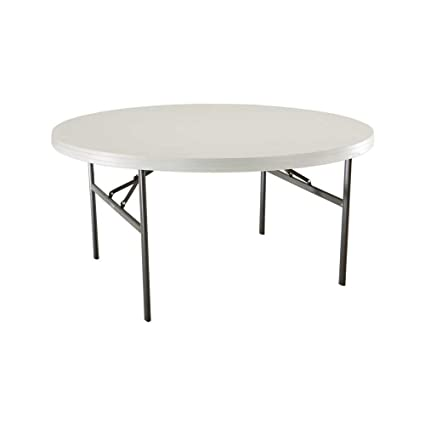 Charming Lifetime 22971 60 Inch Round Table With 60 Inch Round Molded Top, Almond