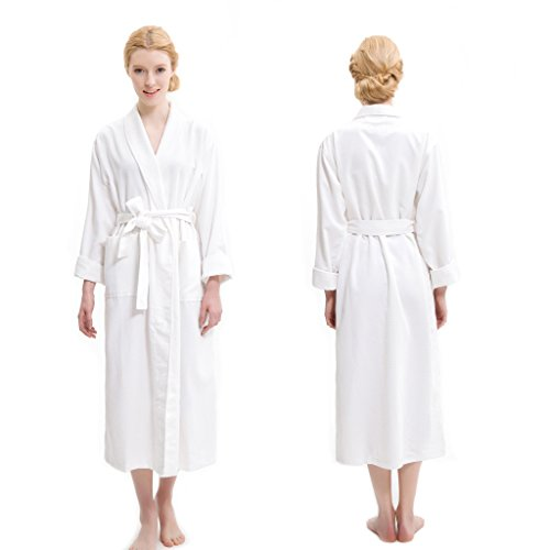 AQUIS White Soft Waffle Weave Robe, Ultra Absorbent & Fast Drying Microfiber Robe (Long Waffle)