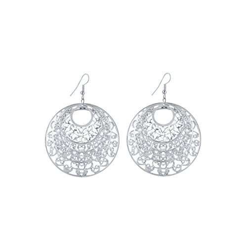 IDB Delicate Filigree Dangle Inner Circle Drop Hook Earrings - available in silver and gold tones (Silver tone) - Gold Filigree Circle Earrings