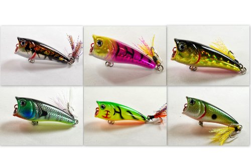 Akuna Pack of 6 Top Dog Series 2.4 inch Topwater Popper Fishing Lure [BP 6 FLA 48 E]