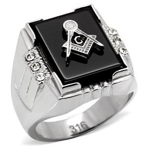 Men's Stainless Steel Masonic Rectangle Black Agate with Crystal Freemason -