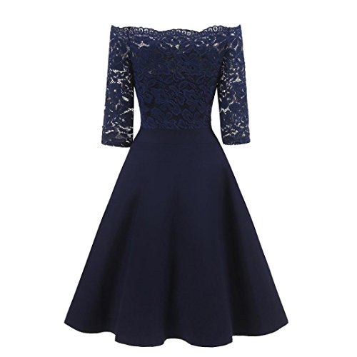 Hot Sale! Clearance!Todaies Women New Vintage Lace Patchwork Off Shoulder Cocktail Party Retro Swing Dress (2XL, Navy)