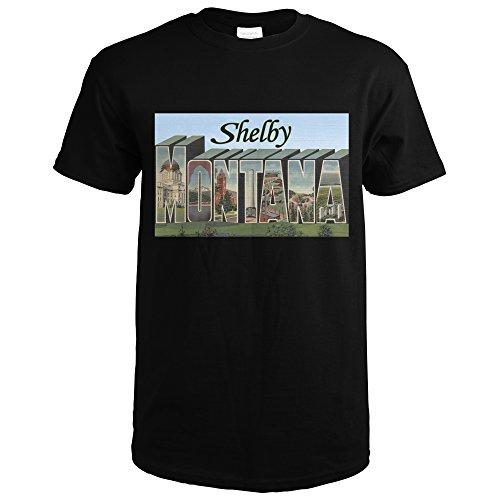 Shelby Letter - Shelby, Montana - Large Letter Scenes (Black T-Shirt Medium)